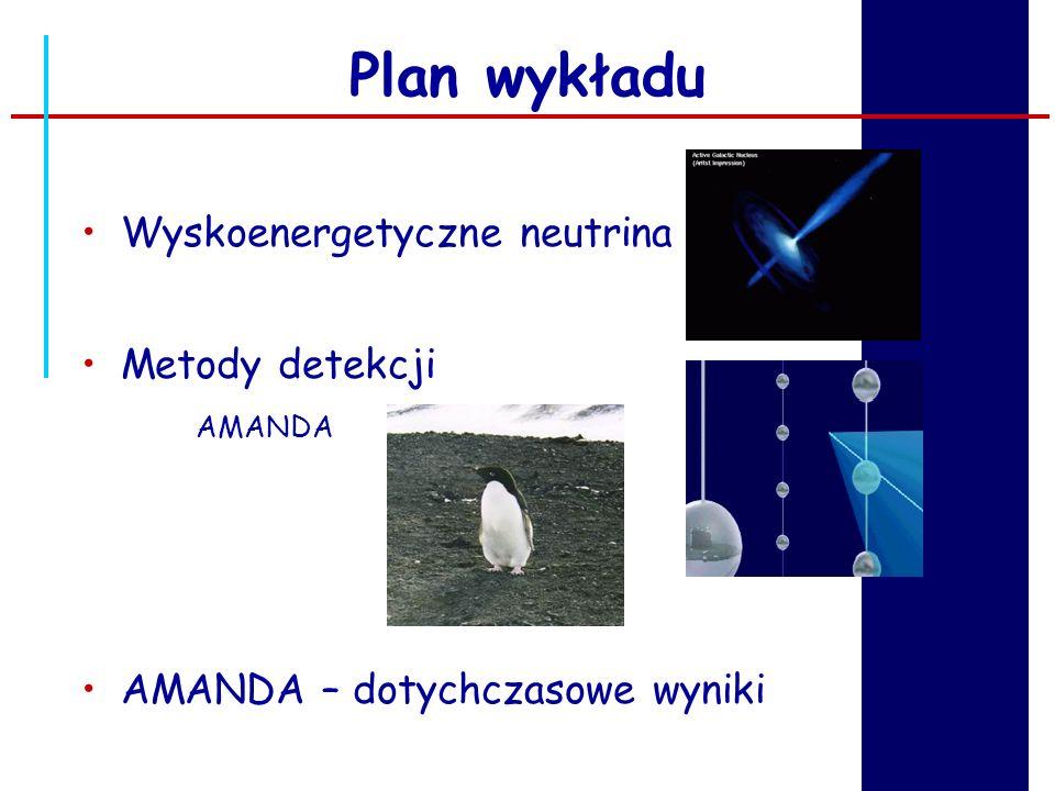 Wyskoenergetyczne neutrina Plan wykładu Metody detekcji AMANDA AMANDA – dotychczasowe wyniki
