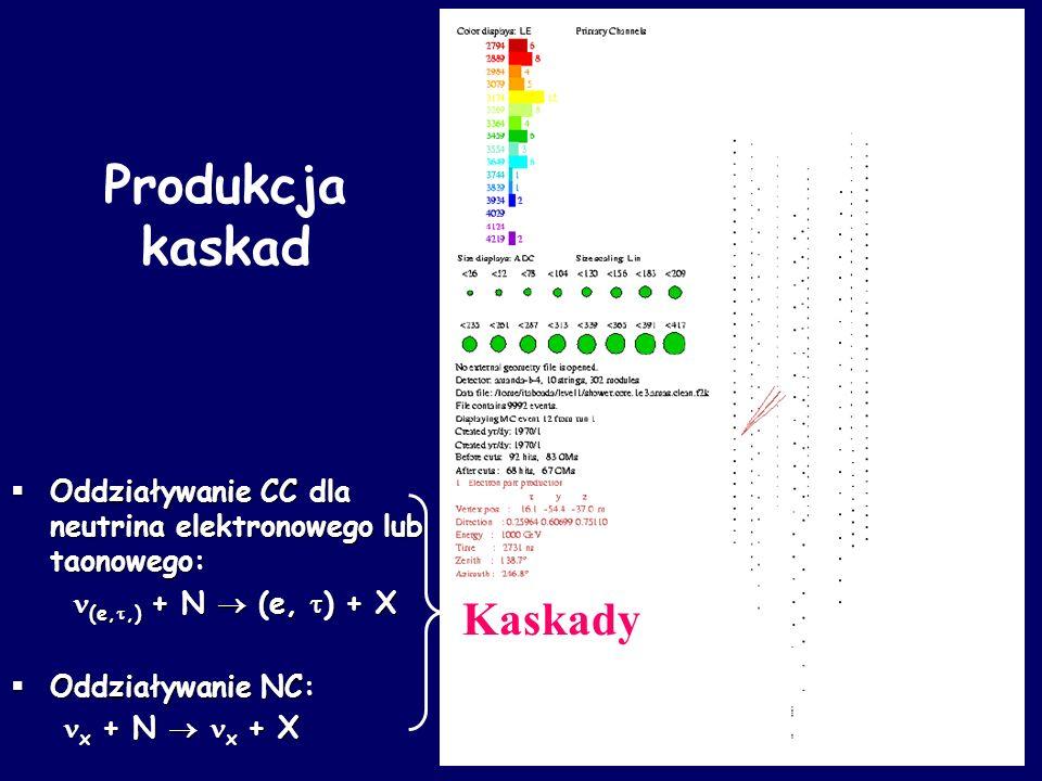 Oddziaływanie CC dla neutrina elektronowego lub taonowego: Oddziaływanie CC dla neutrina elektronowego lub taonowego: (e,,) + N (e, ) + X (e,,) + N (e