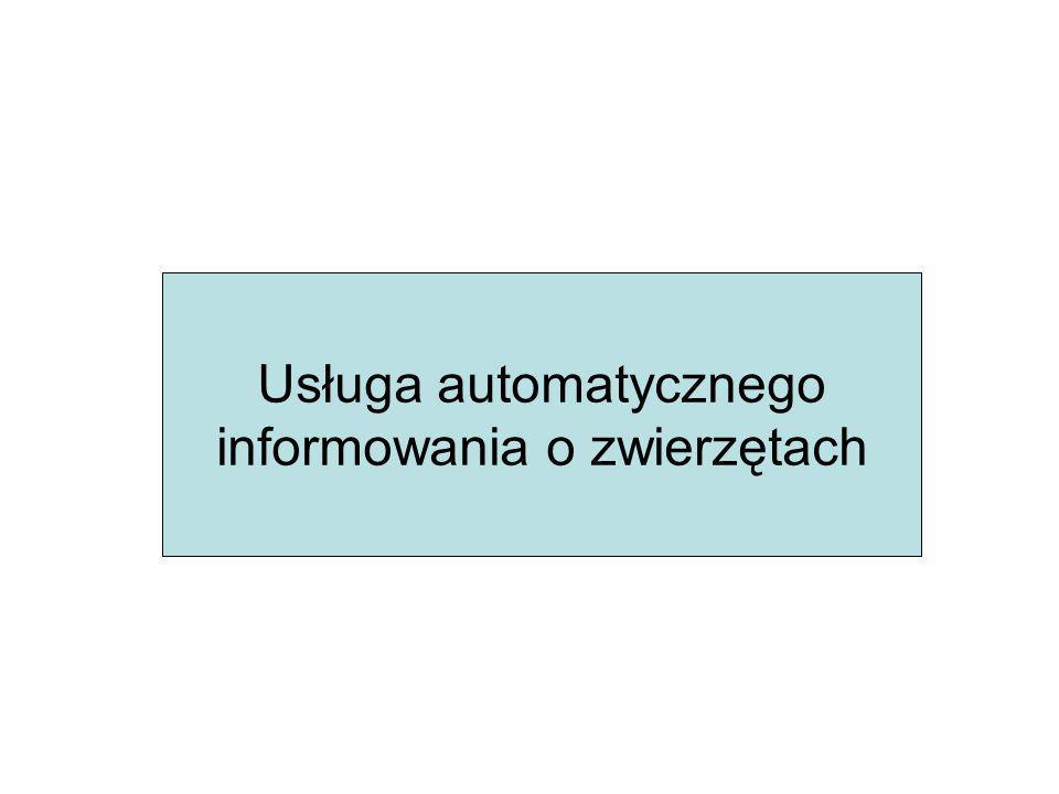 Usługa automatycznego informowania o zwierzętach