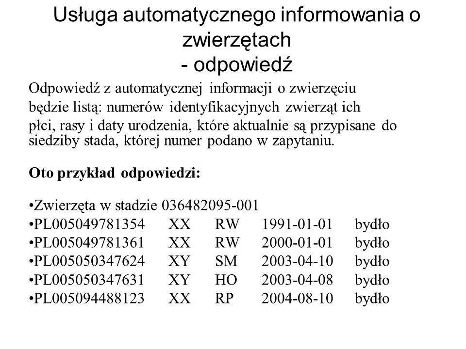 Usługa automatycznego informowania o zwierzętach - odpowiedź Odpowiedź z automatycznej informacji o zwierzęciu będzie listą: numerów identyfikacyjnych