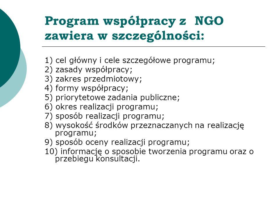 Program współpracy z NGO zawiera w szczególności: 1) cel główny i cele szczegółowe programu; 2) zasady współpracy; 3) zakres przedmiotowy; 4) formy ws