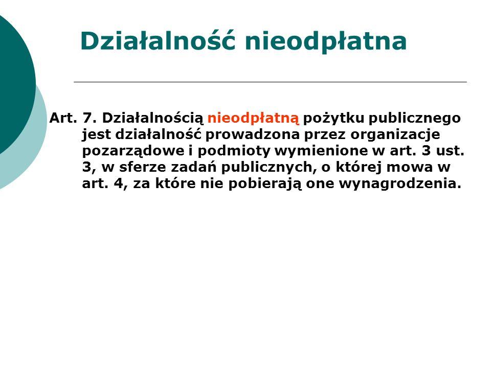 Działalność nieodpłatna Art. 7. Działalnością nieodpłatną pożytku publicznego jest działalność prowadzona przez organizacje pozarządowe i podmioty wym