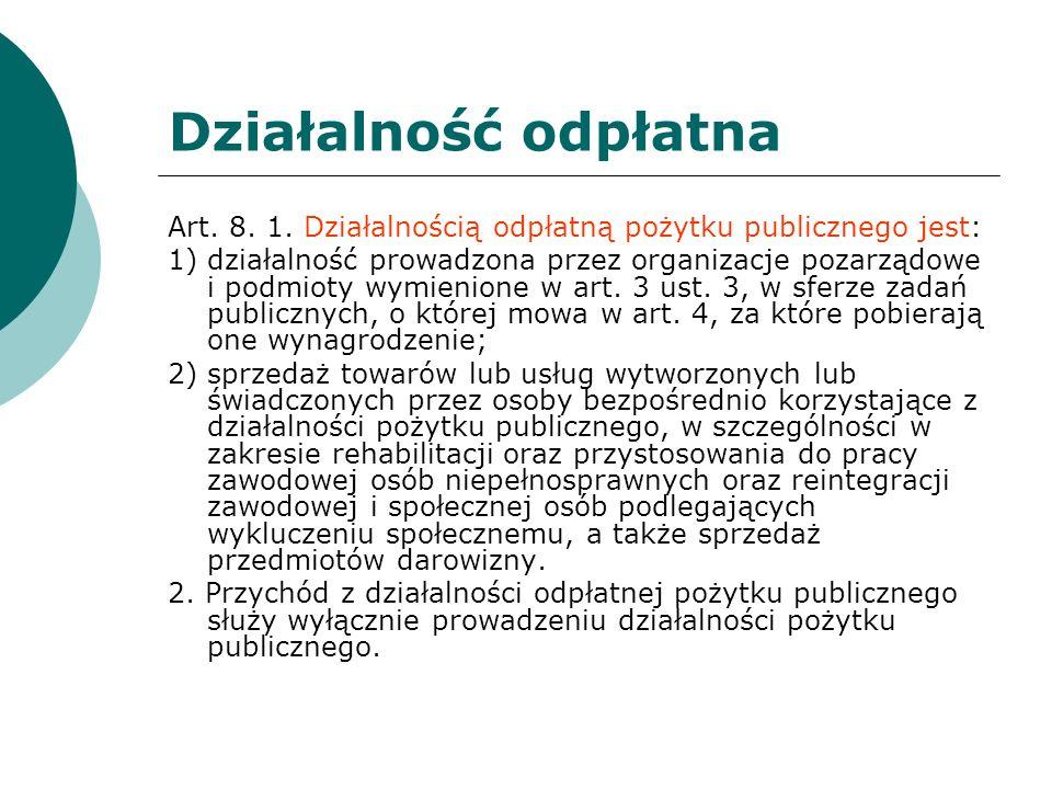 Działalność odpłatna Art. 8. 1. Działalnością odpłatną pożytku publicznego jest: 1) działalność prowadzona przez organizacje pozarządowe i podmioty wy