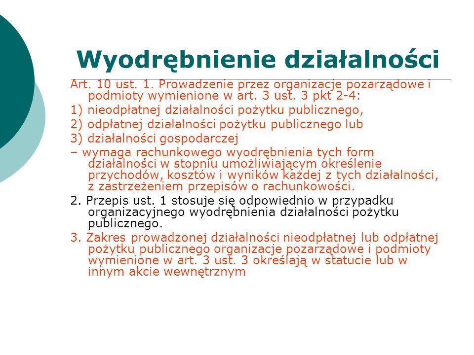 Wyodrębnienie działalności Art. 10 ust. 1. Prowadzenie przez organizacje pozarządowe i podmioty wymienione w art. 3 ust. 3 pkt 2-4: 1) nieodpłatnej dz