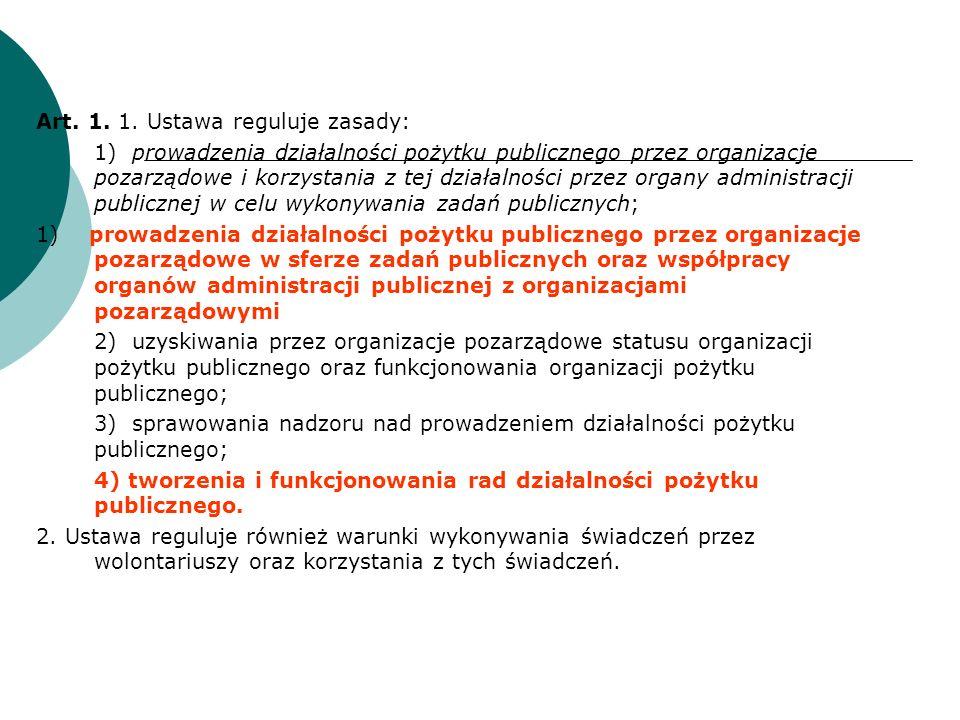 Art. 1. 1. Ustawa reguluje zasady: 1)prowadzenia działalności pożytku publicznego przez organizacje pozarządowe i korzystania z tej działalności przez