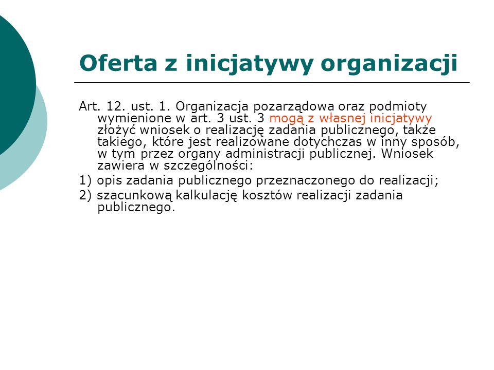 Oferta z inicjatywy organizacji Art. 12. ust. 1. Organizacja pozarządowa oraz podmioty wymienione w art. 3 ust. 3 mogą z własnej inicjatywy złożyć wni
