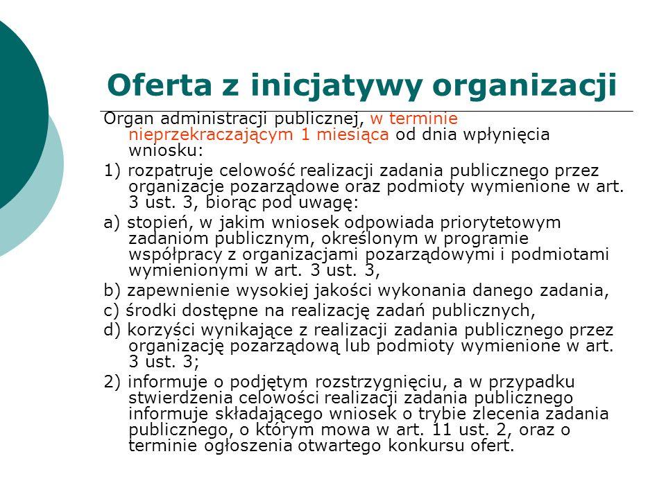 Oferta z inicjatywy organizacji Organ administracji publicznej, w terminie nieprzekraczającym 1 miesiąca od dnia wpłynięcia wniosku: 1) rozpatruje cel