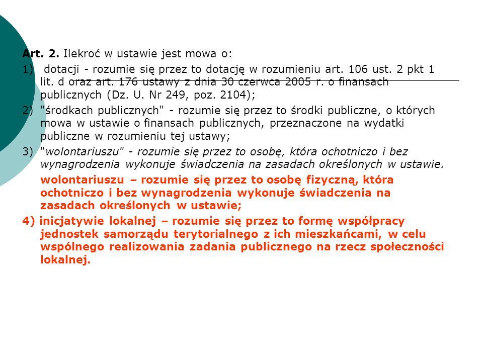 Definicja organizacji pozarządowej Art.3 ust. 2.
