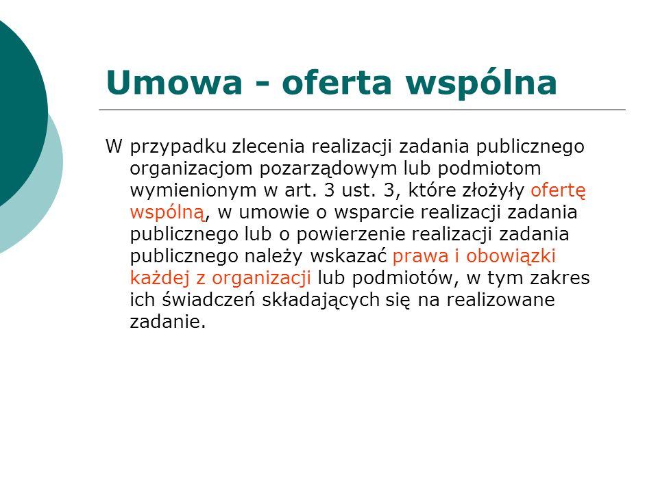 Umowa - oferta wspólna W przypadku zlecenia realizacji zadania publicznego organizacjom pozarządowym lub podmiotom wymienionym w art. 3 ust. 3, które