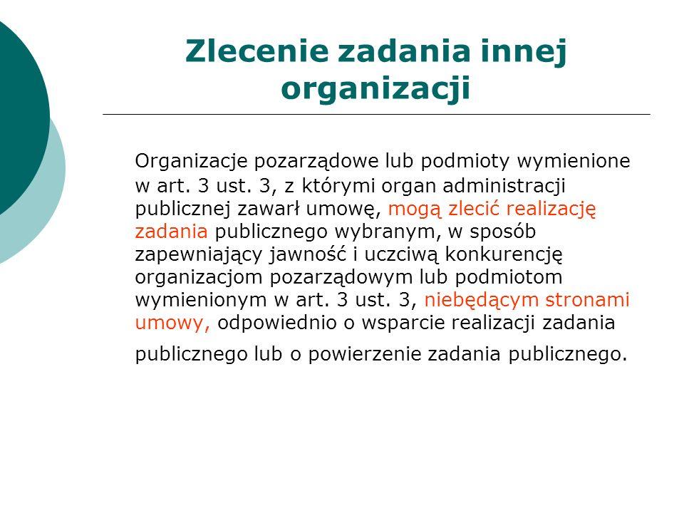 Zlecenie zadania innej organizacji Organizacje pozarządowe lub podmioty wymienione w art. 3 ust. 3, z którymi organ administracji publicznej zawarł um