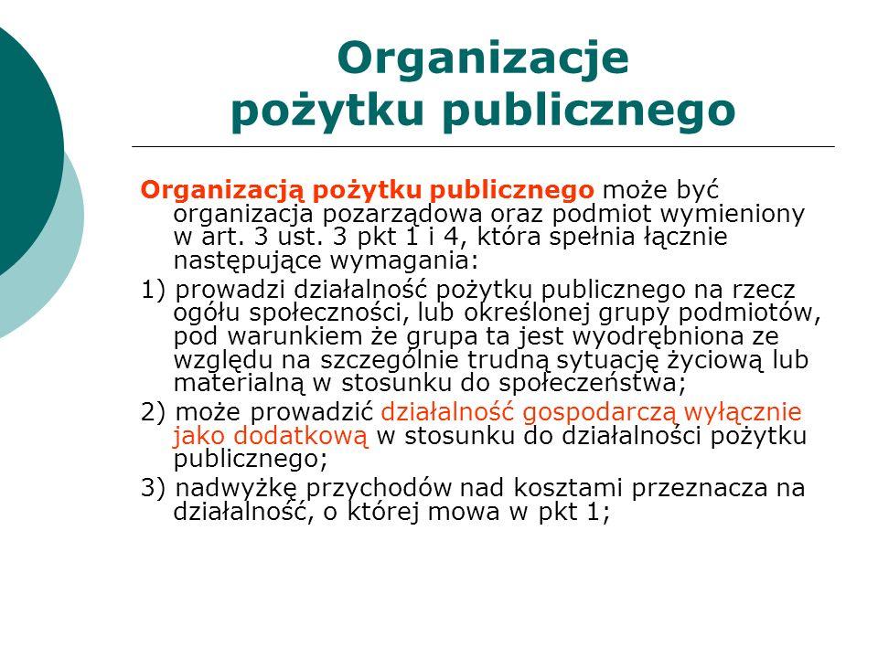 Organizacje pożytku publicznego Organizacją pożytku publicznego może być organizacja pozarządowa oraz podmiot wymieniony w art. 3 ust. 3 pkt 1 i 4, kt