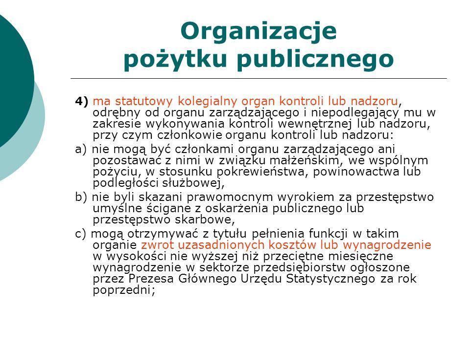 Organizacje pożytku publicznego 4) ma statutowy kolegialny organ kontroli lub nadzoru, odrębny od organu zarządzającego i niepodlegający mu w zakresie