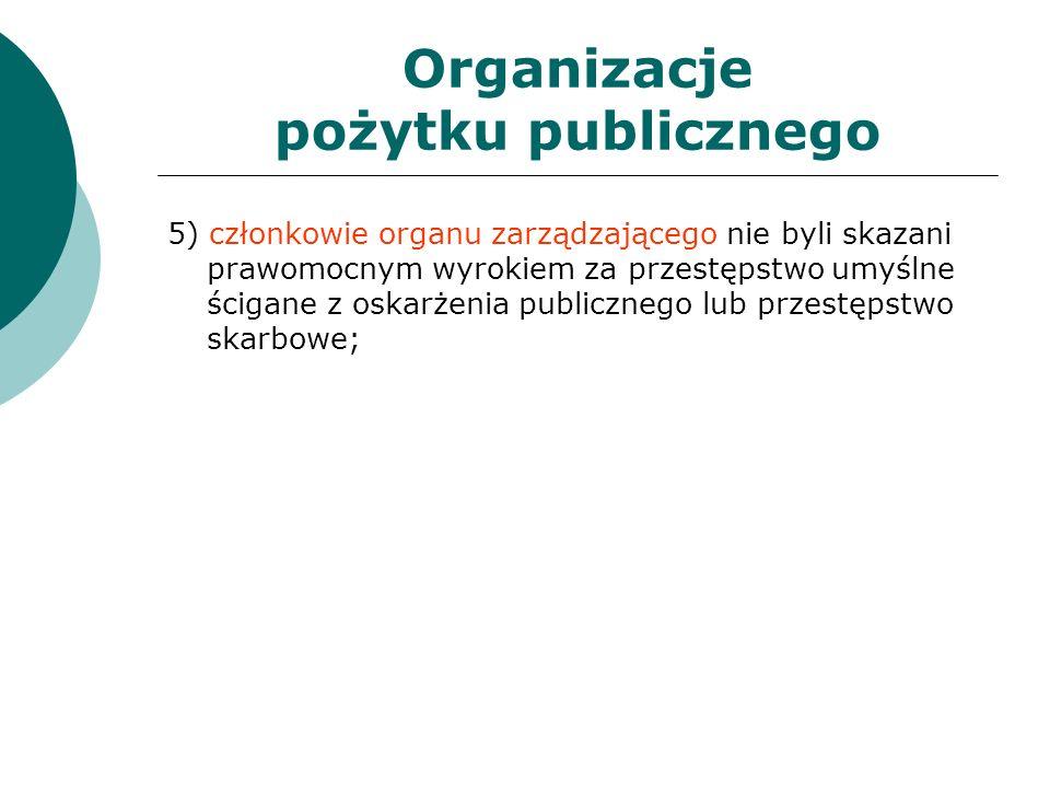 Organizacje pożytku publicznego 5) członkowie organu zarządzającego nie byli skazani prawomocnym wyrokiem za przestępstwo umyślne ścigane z oskarżenia