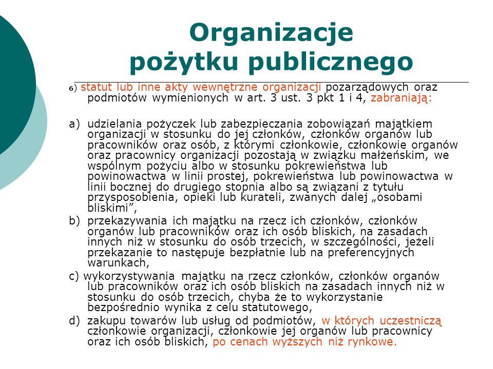 Organizacje pożytku publicznego 6 ) statut lub inne akty wewnętrzne organizacji pozarządowych oraz podmiotów wymienionych w art. 3 ust. 3 pkt 1 i 4, z