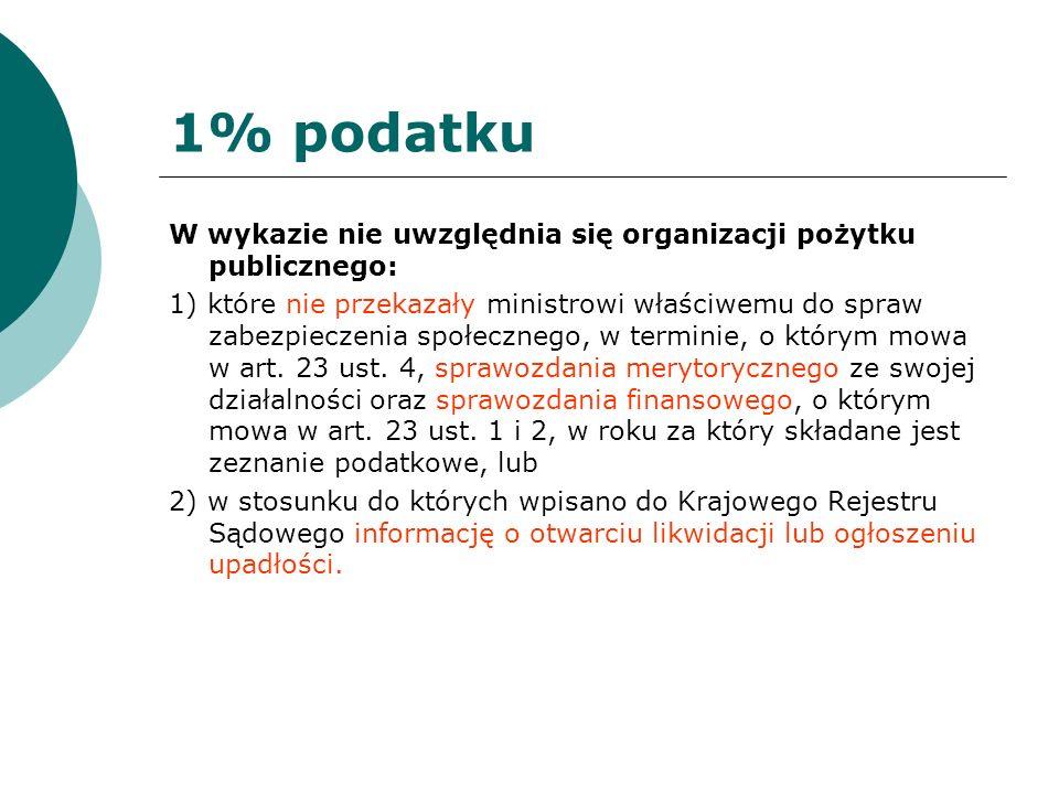 1% podatku W wykazie nie uwzględnia się organizacji pożytku publicznego: 1) które nie przekazały ministrowi właściwemu do spraw zabezpieczenia społecz