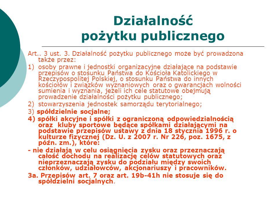 Działalność pożytku publicznego Art.. 3 ust. 3. Działalność pożytku publicznego może być prowadzona także przez: 1)osoby prawne i jednostki organizacy