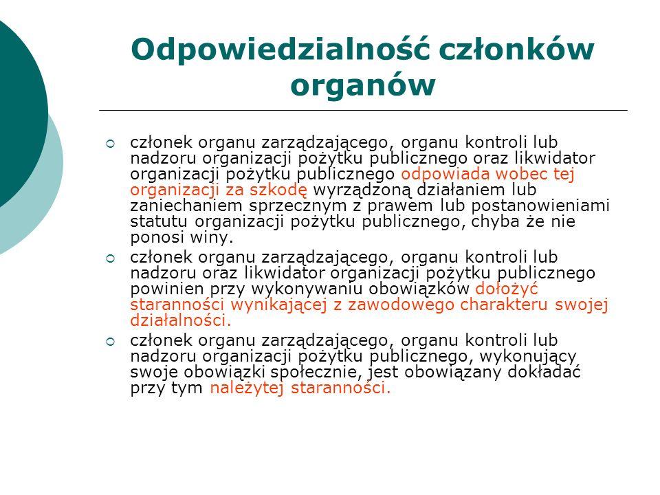 Odpowiedzialność członków organów członek organu zarządzającego, organu kontroli lub nadzoru organizacji pożytku publicznego oraz likwidator organizac