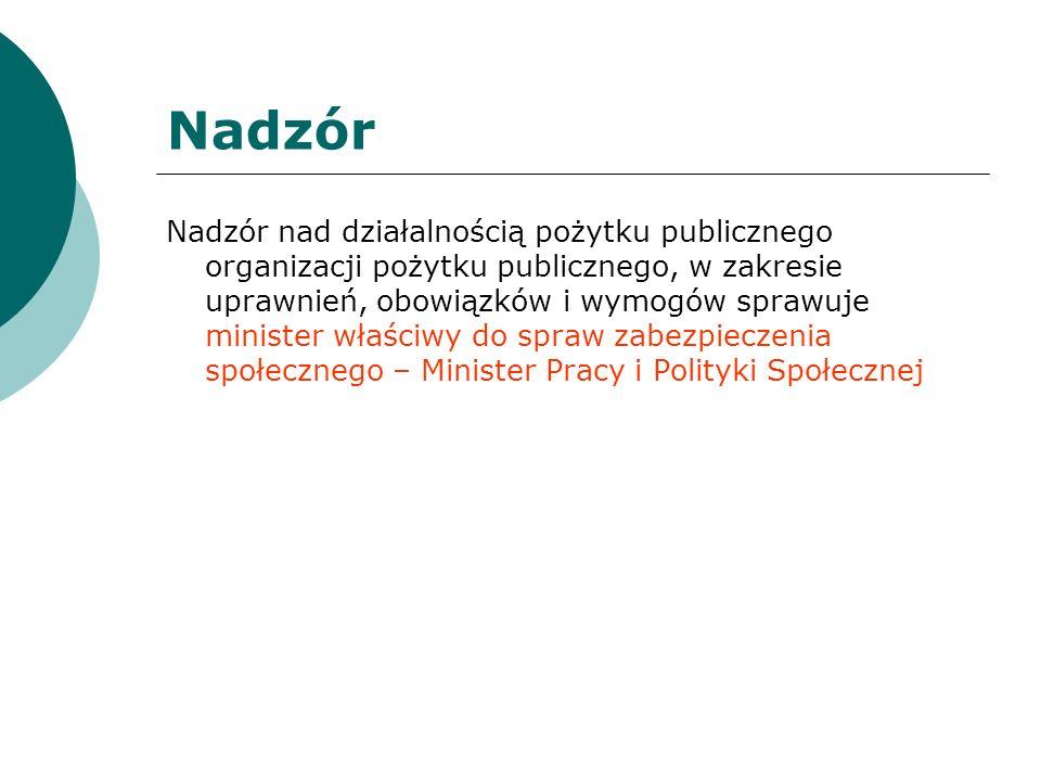 Nadzór Nadzór nad działalnością pożytku publicznego organizacji pożytku publicznego, w zakresie uprawnień, obowiązków i wymogów sprawuje minister właś