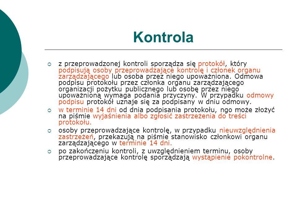 Kontrola z przeprowadzonej kontroli sporządza się protokół, który podpisują osoby przeprowadzające kontrolę i członek organu zarządzającego lub osoba
