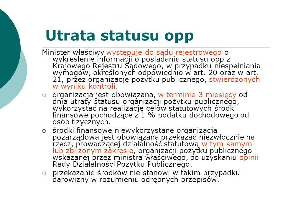 Utrata statusu opp Minister właściwy występuje do sądu rejestrowego o wykreślenie informacji o posiadaniu statusu opp z Krajowego Rejestru Sądowego, w