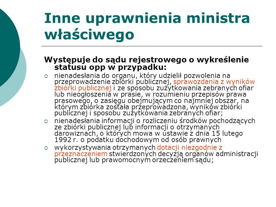 Inne uprawnienia ministra właściwego Występuje do sądu rejestrowego o wykreślenie statusu opp w przypadku: nienadesłania do organu, który udzielił poz