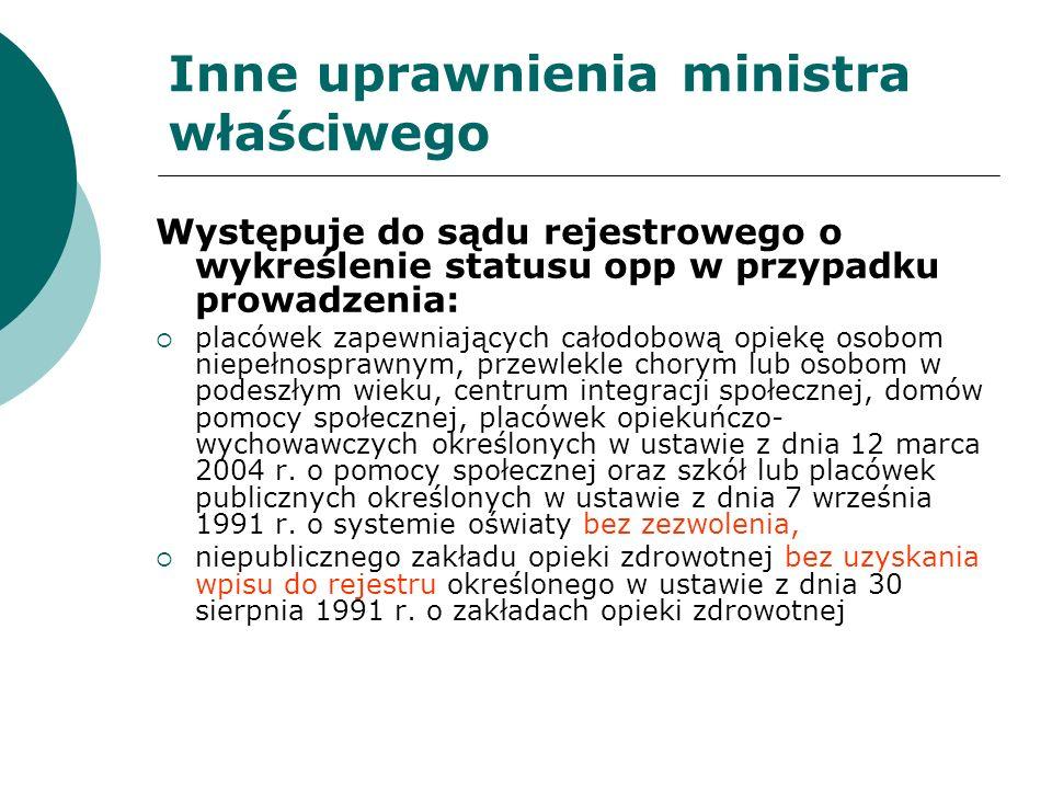Inne uprawnienia ministra właściwego Występuje do sądu rejestrowego o wykreślenie statusu opp w przypadku prowadzenia: placówek zapewniających całodob