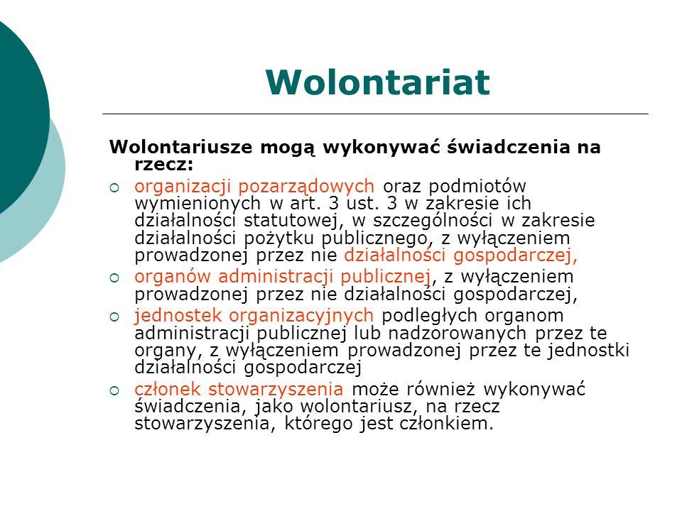 Wolontariat Wolontariusze mogą wykonywać świadczenia na rzecz: organizacji pozarządowych oraz podmiotów wymienionych w art. 3 ust. 3 w zakresie ich dz
