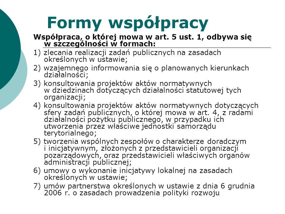 Formy współpracy Współpraca, o której mowa w art. 5 ust. 1, odbywa się w szczególności w formach: 1) zlecania realizacji zadań publicznych na zasadach