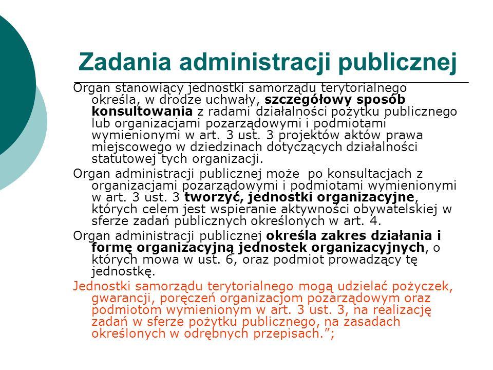 Zadania administracji publicznej Organ stanowiący jednostki samorządu terytorialnego określa, w drodze uchwały, szczegółowy sposób konsultowania z rad