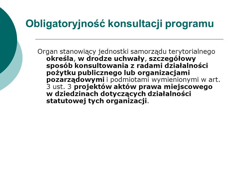 Obligatoryjność konsultacji programu Organ stanowiący jednostki samorządu terytorialnego określa, w drodze uchwały, szczegółowy sposób konsultowania z