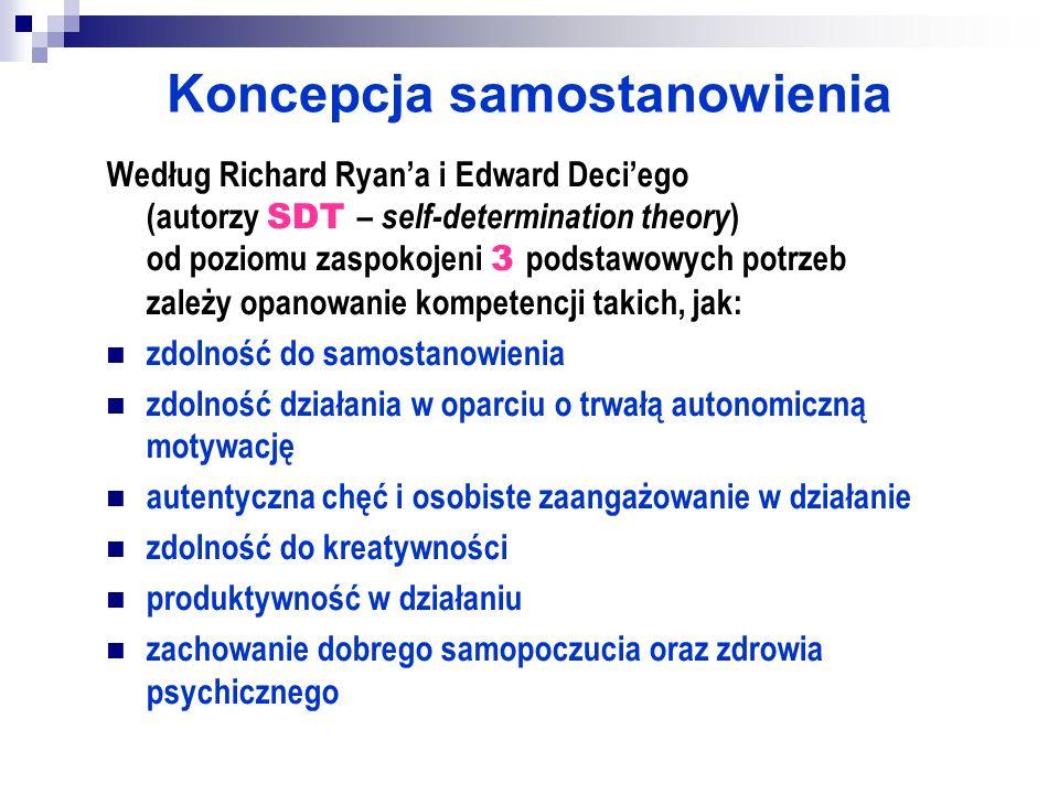 Koncepcja samostanowienia Według Richard Ryana i Edward Deciego (autorzy SDT – self-determination theory ) od poziomu zaspokojeni 3 podstawowych potrz