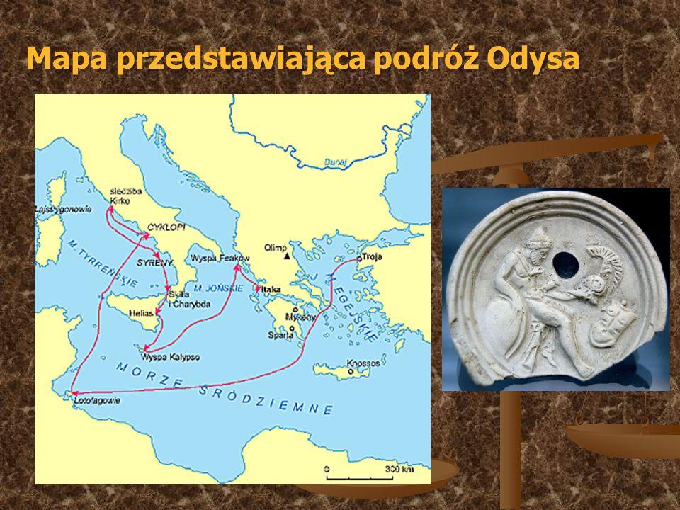 Mapa przedstawiająca podróż Odysa