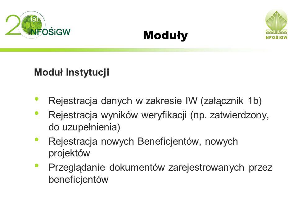 Moduły Moduł Instytucji Rejestracja danych w zakresie IW (załącznik 1b) Rejestracja wyników weryfikacji (np. zatwierdzony, do uzupełnienia) Rejestracj