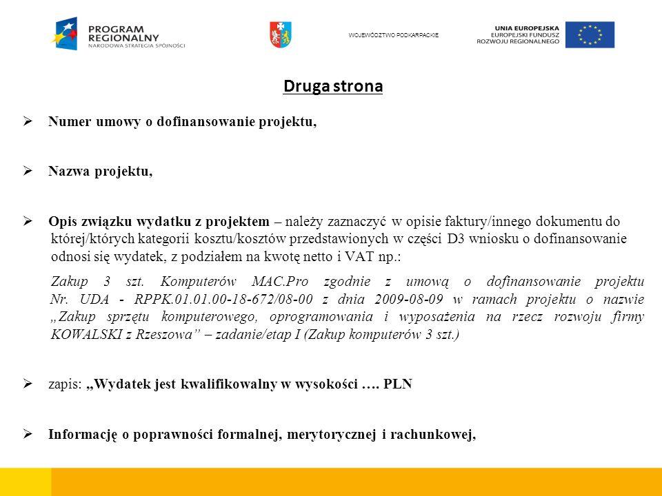 Druga strona Numer umowy o dofinansowanie projektu, Nazwa projektu, Opis związku wydatku z projektem – należy zaznaczyć w opisie faktury/innego dokume