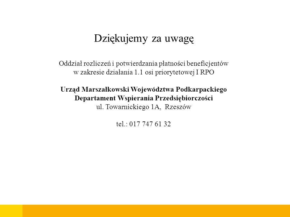 Dziękujemy za uwagę Oddział rozliczeń i potwierdzania płatności beneficjentów w zakresie działania 1.1 osi priorytetowej I RPO Urząd Marszałkowski Woj