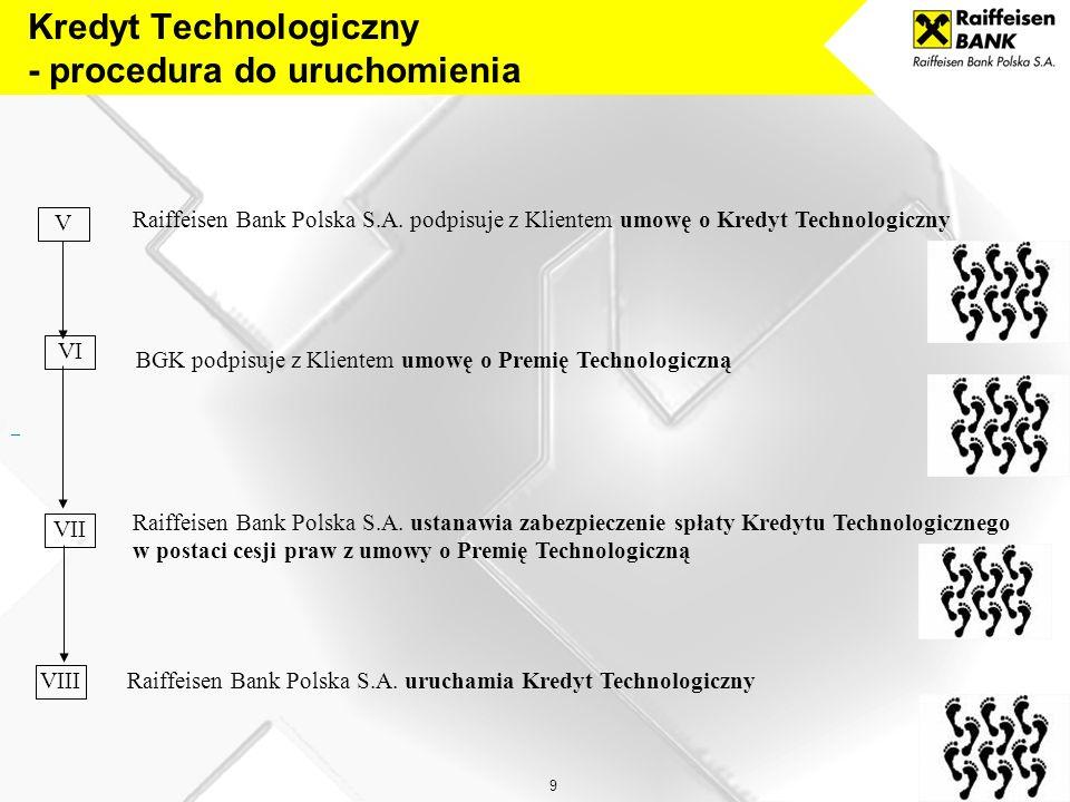 8 Przedsiębiorca składa do Raiffeisen Bank Polska S.A. wniosek o udzielenie Kredytu Technologicznego wraz z załącznikami w postaci: oświadczenia o spe