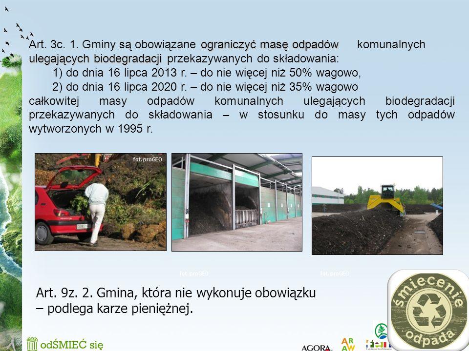 12 ograniczyć masę odpadów ulegających biodegradacji Art. 3c. 1. Gminy są obowiązane ograniczyć masę odpadów komunalnych ulegających biodegradacji prz