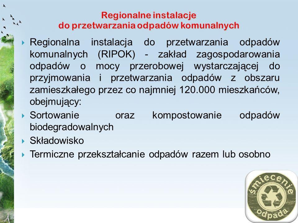 Regionalna instalacja do przetwarzania odpadów komunalnych (RIPOK) - zakład zagospodarowania odpadów o mocy przerobowej wystarczającej do przyjmowania