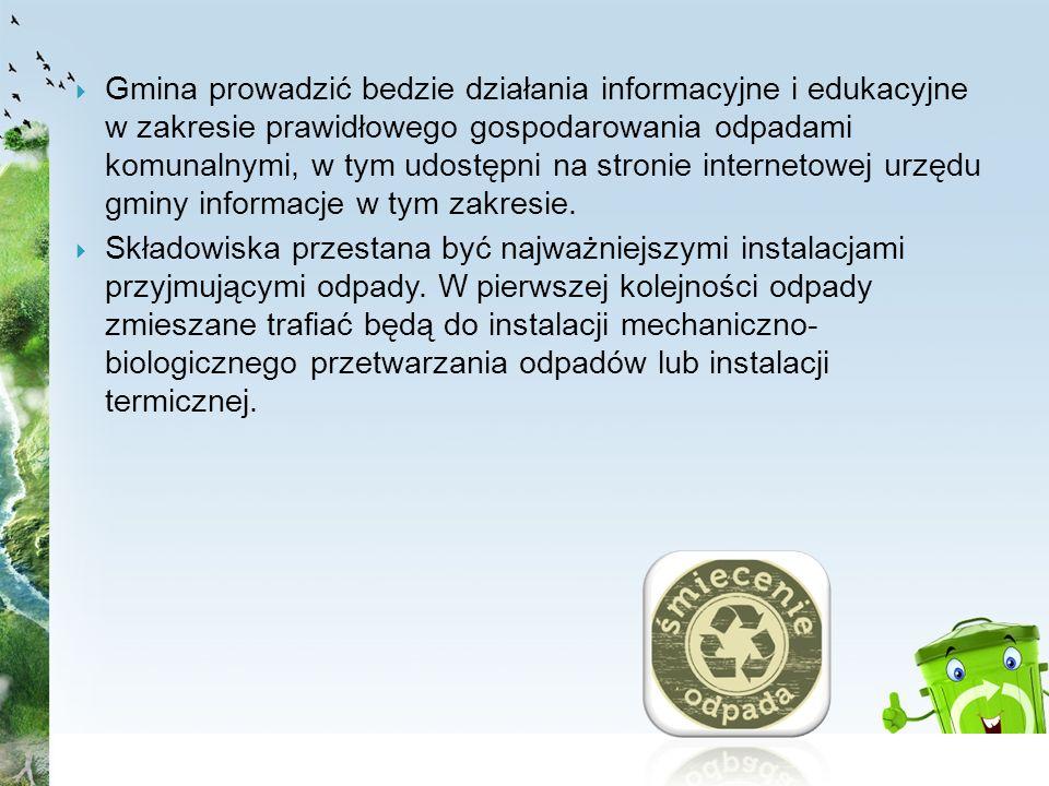 Gmina prowadzić bedzie działania informacyjne i edukacyjne w zakresie prawidłowego gospodarowania odpadami komunalnymi, w tym udostępni na stronie int