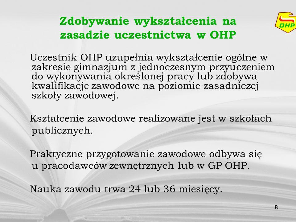 8 Zdobywanie wykształcenia na zasadzie uczestnictwa w OHP Uczestnik OHP uzupełnia wykształcenie ogólne w zakresie gimnazjum z jednoczesnym przyuczenie