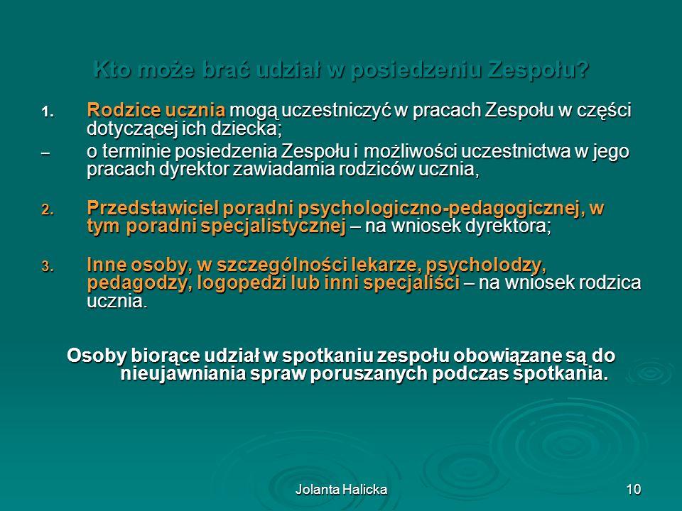 Jolanta Halicka10 Kto może brać udział w posiedzeniu Zespołu? 1. Rodzice ucznia mogą uczestniczyć w pracach Zespołu w części dotyczącej ich dziecka; –