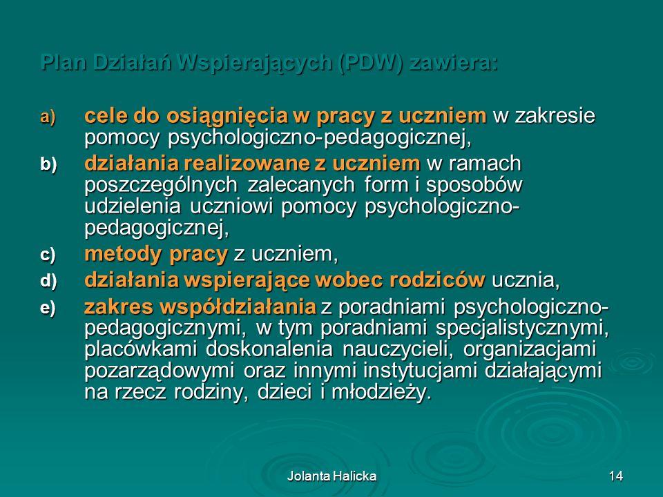 Jolanta Halicka14 Plan Działań Wspierających (PDW) zawiera: a) cele do osiągnięcia w pracy z uczniem w zakresie pomocy psychologiczno-pedagogicznej, b
