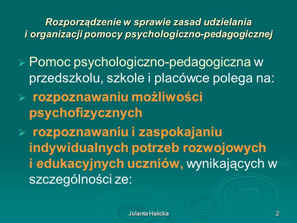 Jolanta Halicka13 Plan Działań Wspierających (PDW) opracowuje się dla: – ucznia lub grupy uczniów o jednorodnym rozpoznaniu, wobec których, ze względu na potrzeby rozwojowe i edukacyjne oraz możliwości psychofizyczne, określono potrzebę objęcia pomocą psychologiczno-pedagogiczną; – posiadającego opinię poradni psychologiczno-pedagogicznej, w tym poradni specjalistycznej; – posiadającego orzeczenie o potrzebie indywidualnego rocznego przygotowania przedszkolnego; – orzeczenie o potrzebie indywidualnego nauczania, (w przypadku uczniów, którzy posiadają jednocześnie orzeczenie o potrzebie kształcenia specjalnego i orzeczenie o potrzebie indywidualnego nauczania lub indywidualnego obowiązkowego rocznego przygotowania przedszkolnego PDW nie opracowuje się.