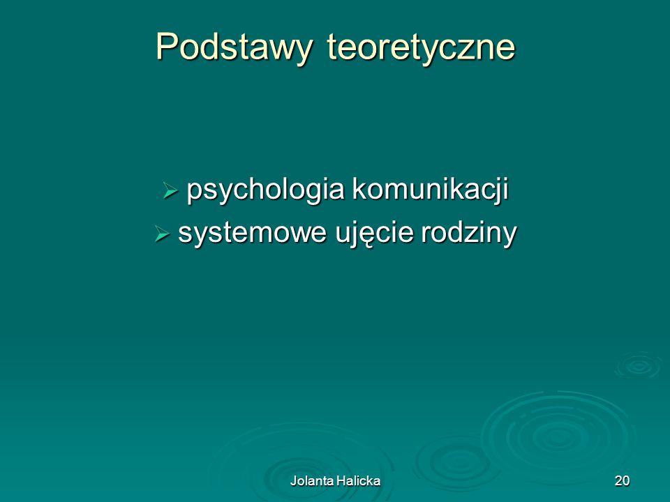 Jolanta Halicka20 Podstawy teoretyczne psychologia komunikacji psychologia komunikacji systemowe ujęcie rodziny systemowe ujęcie rodziny