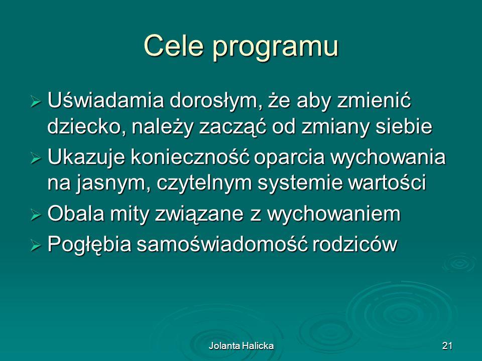 Jolanta Halicka21 Cele programu Uświadamia dorosłym, że aby zmienić dziecko, należy zacząć od zmiany siebie Uświadamia dorosłym, że aby zmienić dzieck