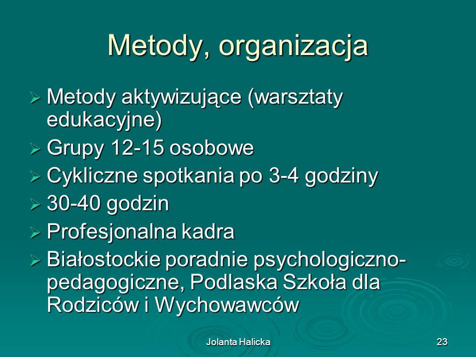 Jolanta Halicka23 Metody, organizacja Metody aktywizujące (warsztaty edukacyjne) Metody aktywizujące (warsztaty edukacyjne) Grupy 12-15 osobowe Grupy