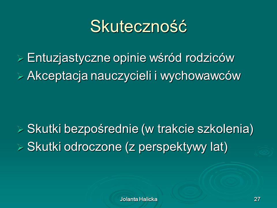 Jolanta Halicka27 Skuteczność Entuzjastyczne opinie wśród rodziców Entuzjastyczne opinie wśród rodziców Akceptacja nauczycieli i wychowawców Akceptacj