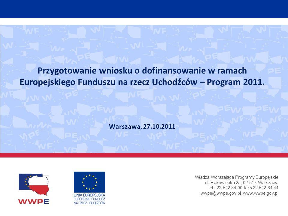 Władza Wdrażająca Programy Europejskie ul. Rakowiecka 2a, 02-517 Warszawa tel. 22 542 84 00 faks 22 542 84 44 wwpe@wwpe.gov.pl www.wwpe.gov.pl Przygot
