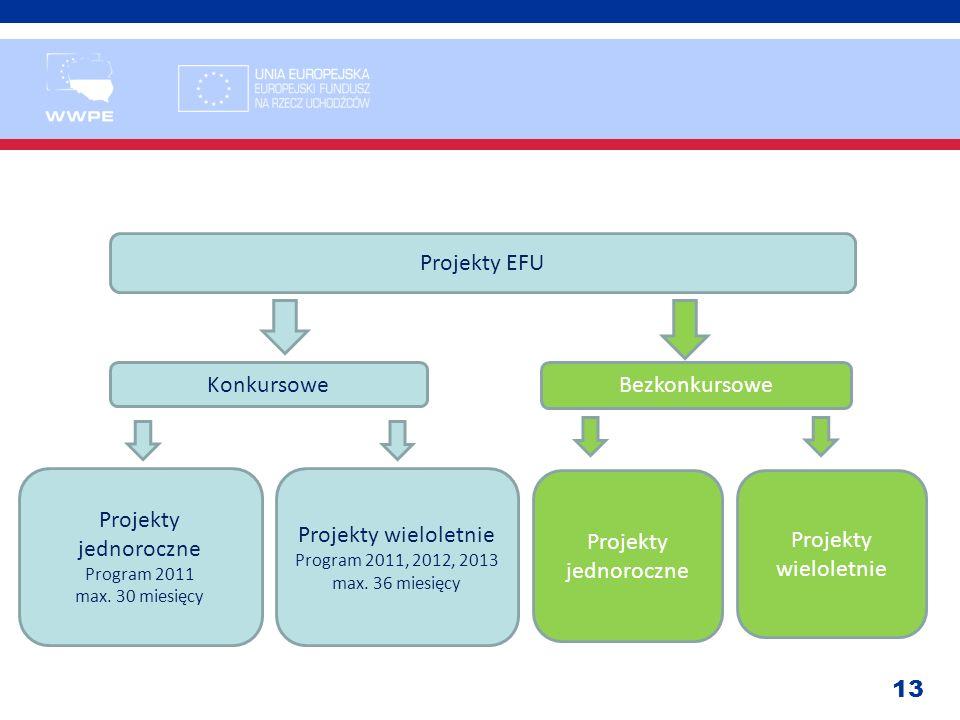 13 Projekty EFU Konkursowe Bezkonkursowe Projekty jednoroczne Program 2011 max. 30 miesięcy Projekty wieloletnie Program 2011, 2012, 2013 max. 36 mies