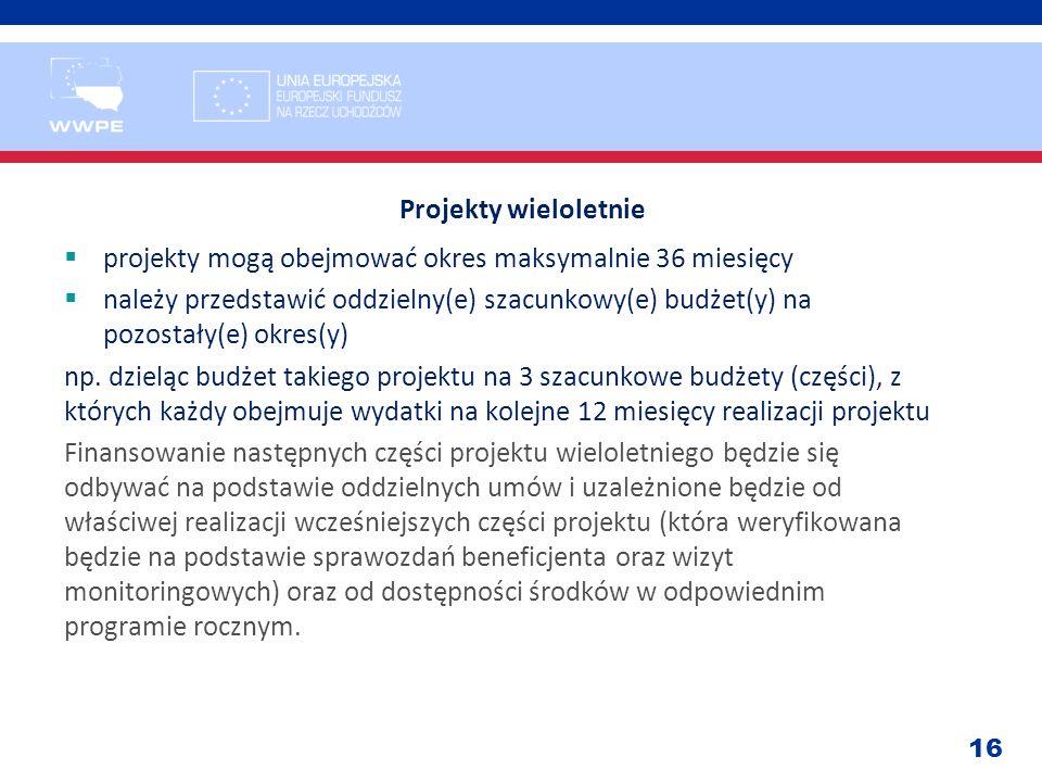 16 Projekty wieloletnie projekty mogą obejmować okres maksymalnie 36 miesięcy należy przedstawić oddzielny(e) szacunkowy(e) budżet(y) na pozostały(e)